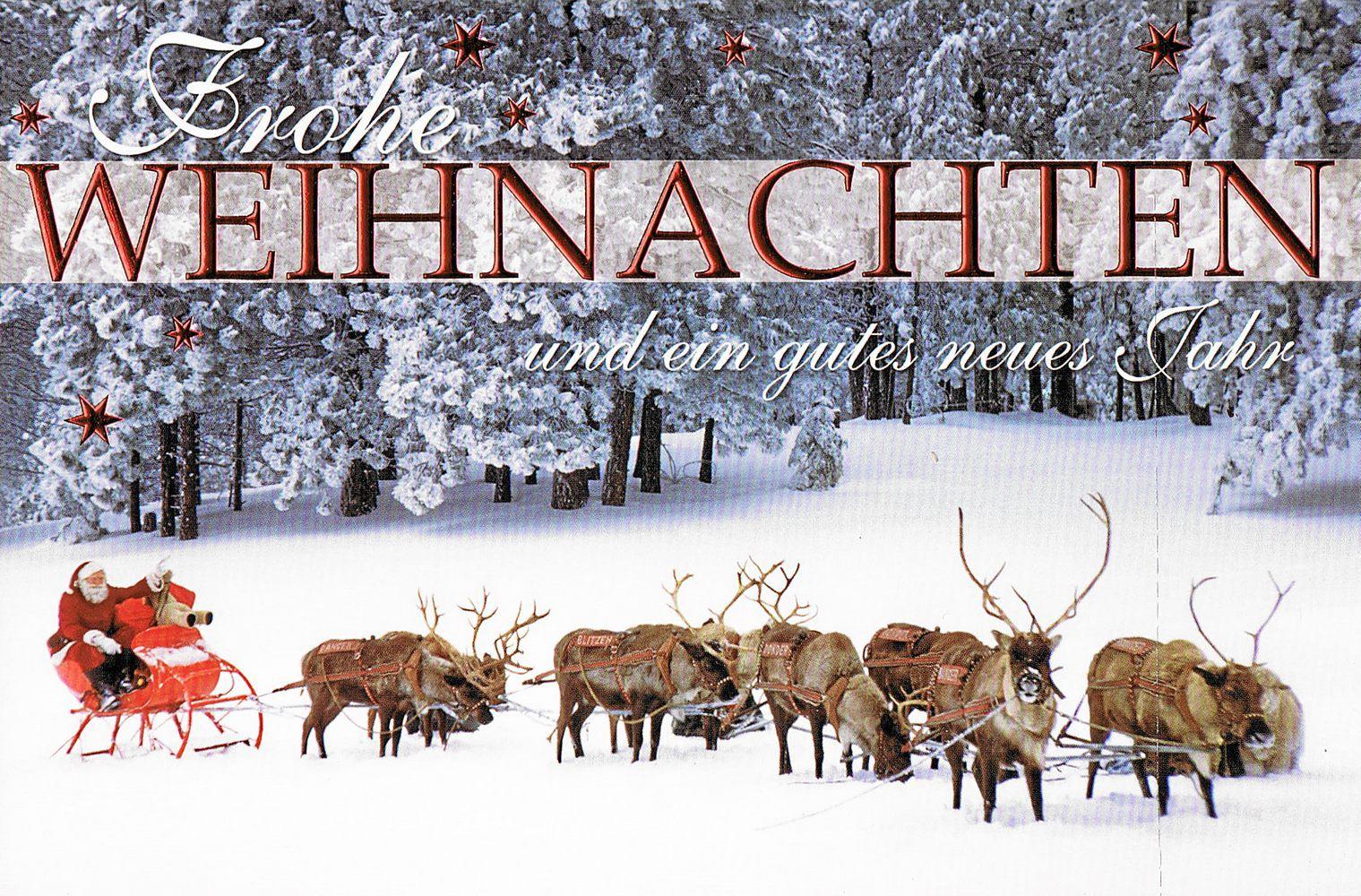 Weihnachtskarte - Weihnachtsmann Mit Rentierschlitten für Weihnachtsmann Rentierschlitten