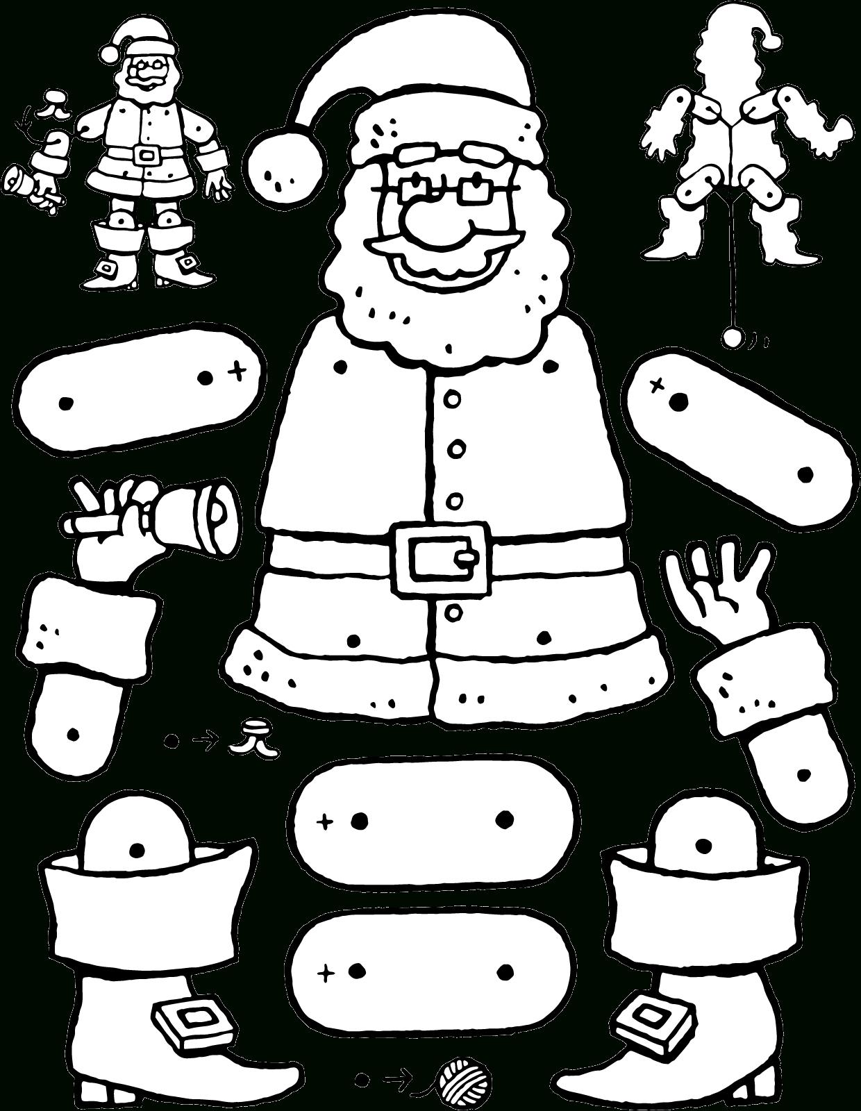 Weihnachtsmann-Hampelmann - Kiddimalseite in Weihnachtsmann Bastelvorlage