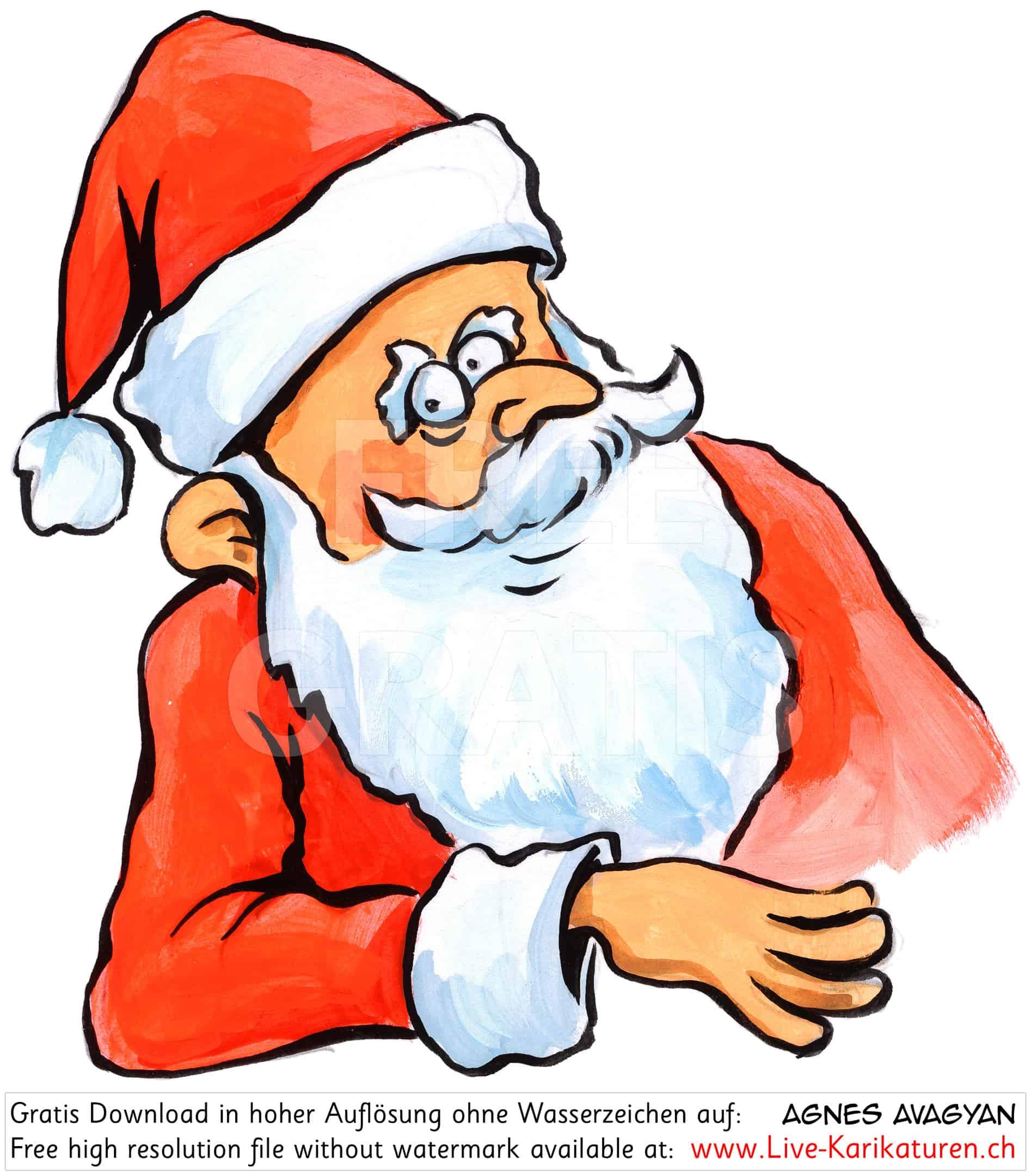 Weihnachtsmann Klassisch Rot Weiss — Agnes Live-Karikaturen für Comic Weihnachtsmann