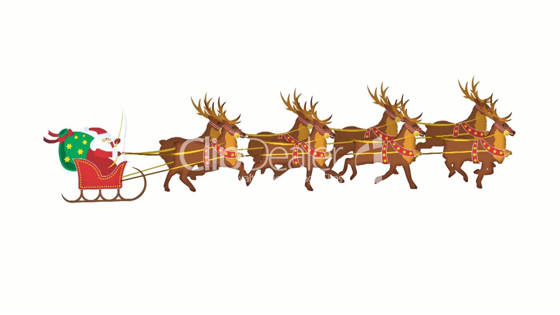 Weihnachtsmann Mit Seinem Rentierschlitten: Lizenzfreie mit Weihnachtsmann Rentierschlitten