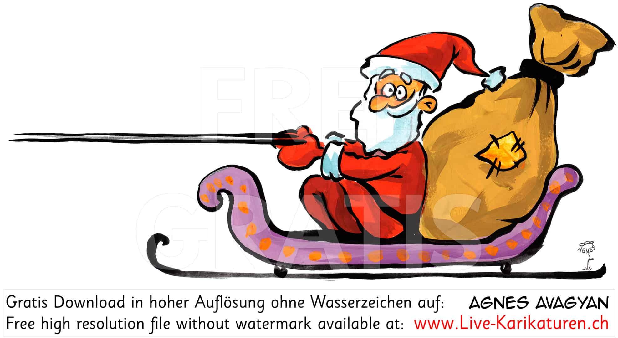 Weihnachtsmann Schlitten Rechts Santa Claus — Agnes Live bei Comic Weihnachtsmann