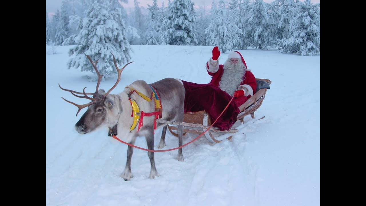 Weihnachtsmann Video Für Familien Aufbruch Des Weihnachtsmanns Lappland  Finnland Santa Claus mit Weihnachtsmann Rentierschlitten