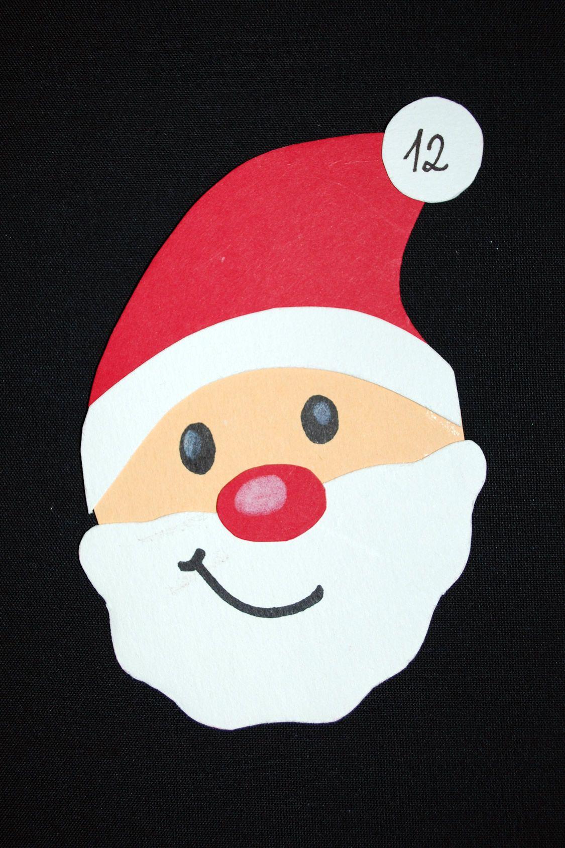 Weihnachtsmann   Weihnachtsmann Basteln, Adventskalender bestimmt für Weihnachtsmann Bastelvorlage