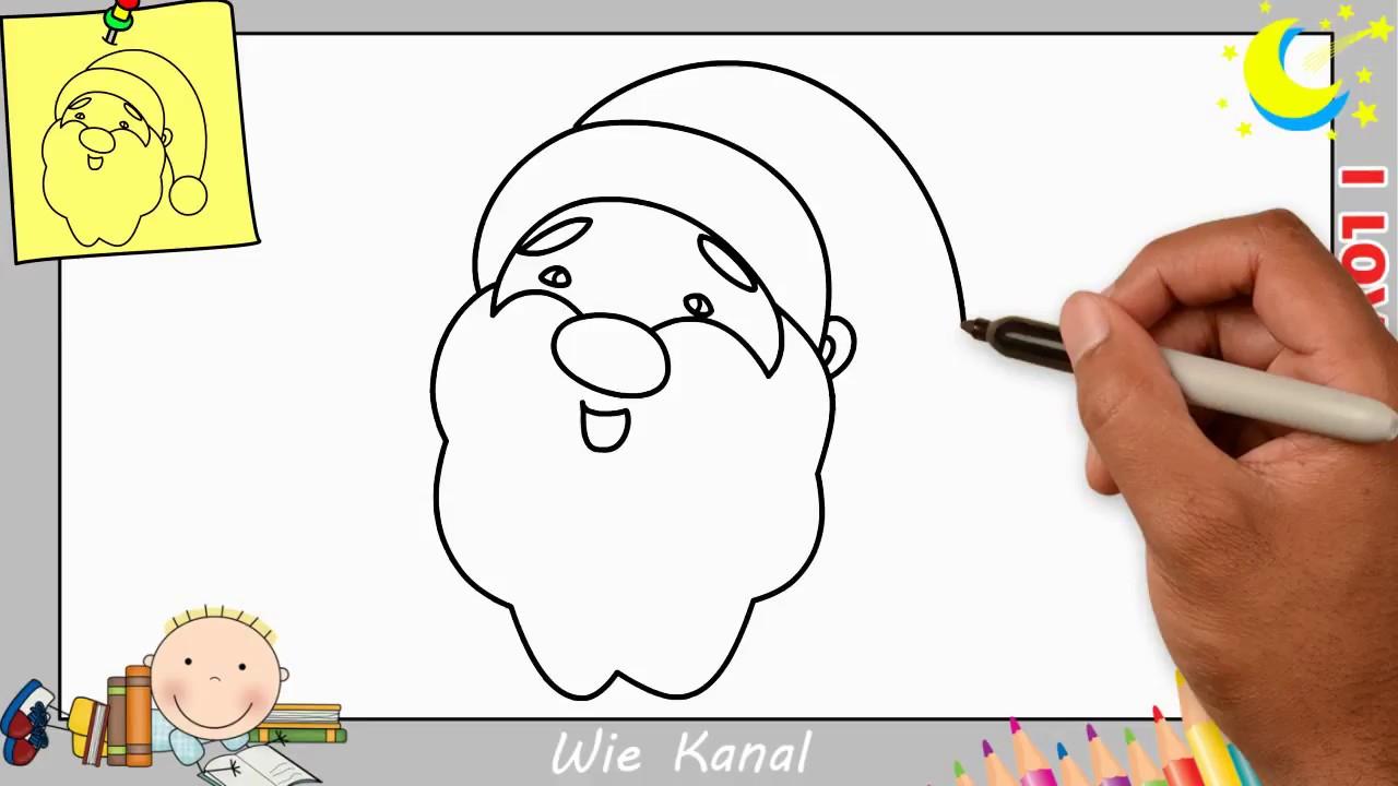 Weihnachtsmann Zeichnen Lernen Einfach Schritt Für Schritt 1 - Weihnachten über Weihnachtsmann Malen