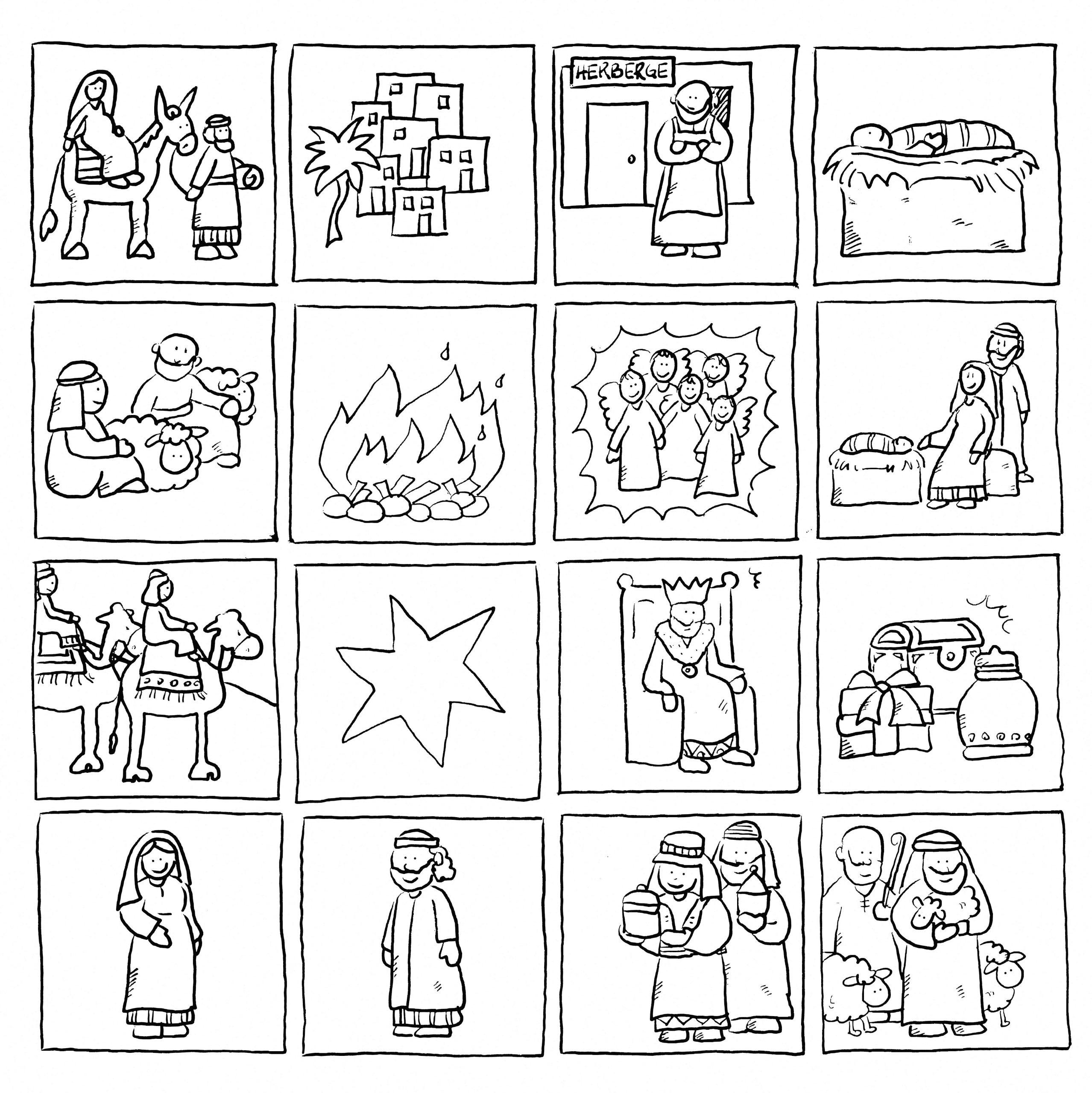 Weihnachtsmemory, Ausmalen, Zweimal Auf Festes Papier in Weihnachtsgeschichte Bibel Für Kindergartenkinder