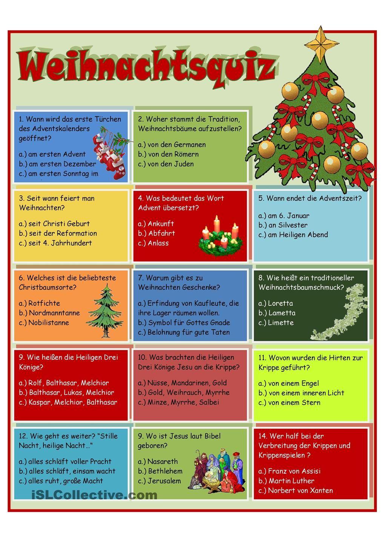 Weihnachtsquiz Lustiges Mit Lösungen Zum Ausdrucken