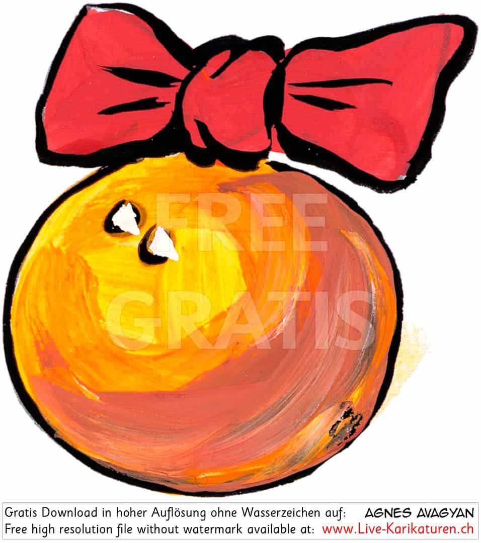 Weihnachtsschmuck Christbaumkugel Gelb Orange Rote Schleife in Weihnachtskugeln Comic