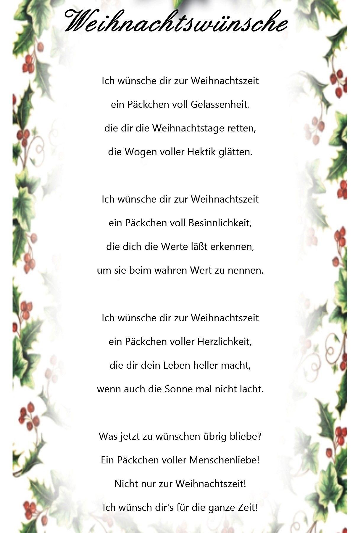 Weihnachtswuensche … | Weihnachtswünsche, Weihnachtssprüche ganzes Gedichte Zum Weihnachtsfest Kostenlos