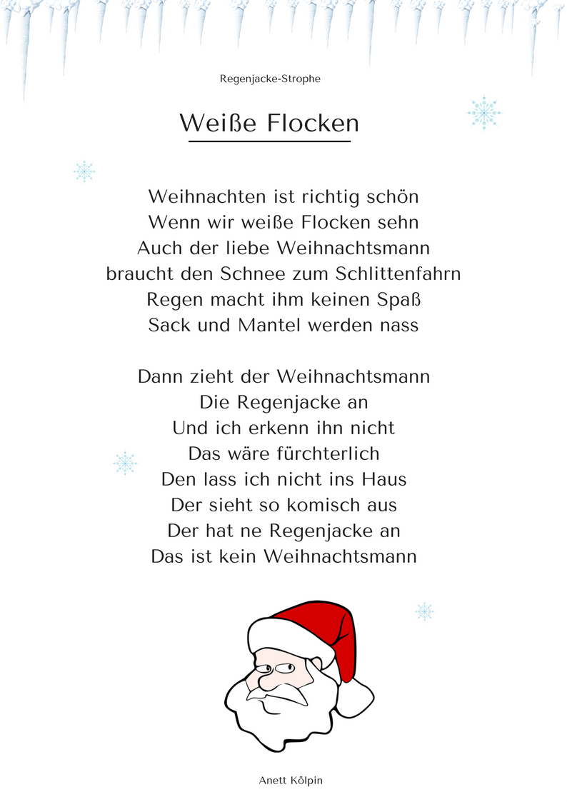 """Weiße Flocken"""" (1) - Weihnachtsgedicht & Lied - Mp3 / Noten mit Weihnachtsgedichte Für Kindergarten"""