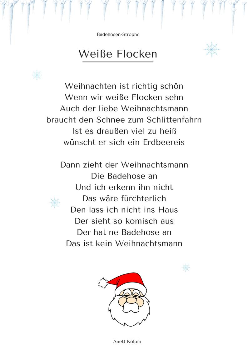 """Weiße Flocken"""" (2) - Weihnachtsgedicht & Lied - Mp3 / Noten für Kurze Weihnachtsgedichte Für Kindergartenkinder Lustig"""