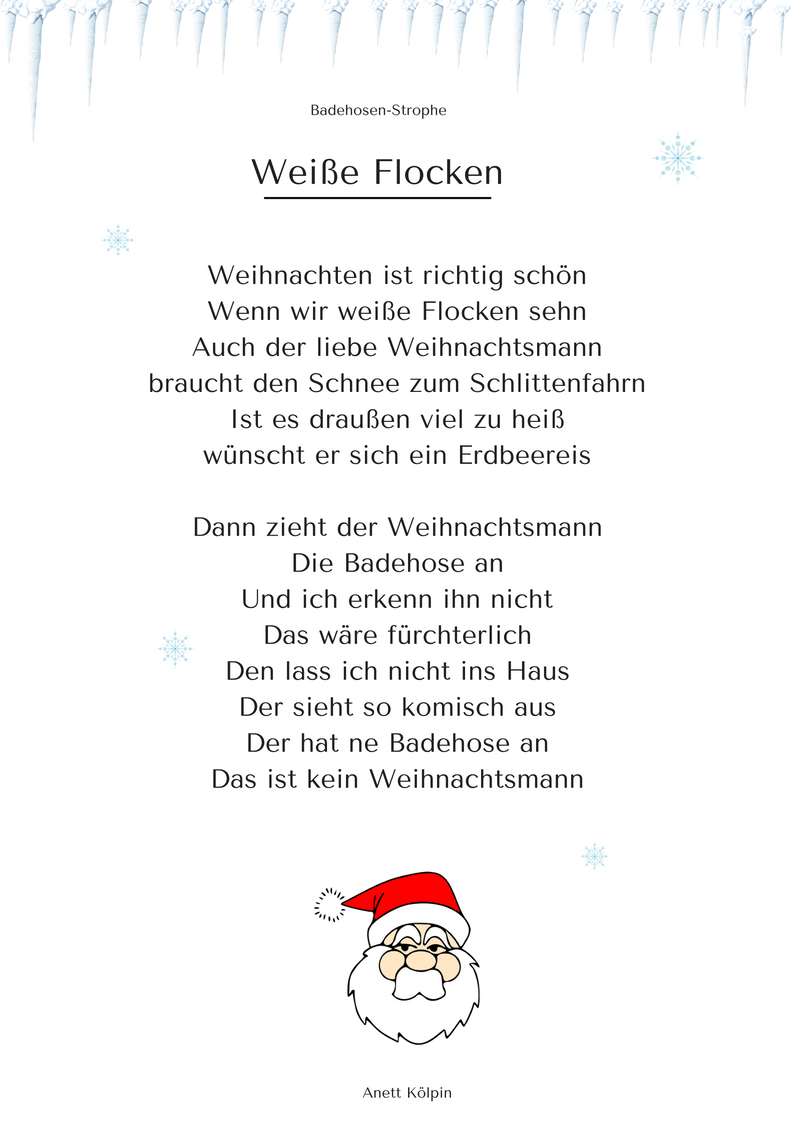 """Weiße Flocken"""" (2) - Weihnachtsgedicht & Lied - Mp3 / Noten in Kurze Weihnachtsgeschichten Für Kindergartenkinder Kostenlos"""