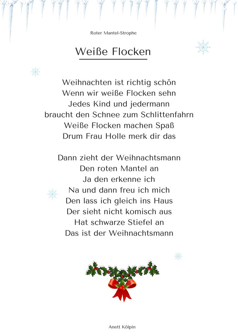 """Weiße Flocken"""" (3) - Weihnachtsgedicht & Lied - Mp3 / Noten bei Einfache Weihnachtsgedichte Für Kindergartenkinder"""