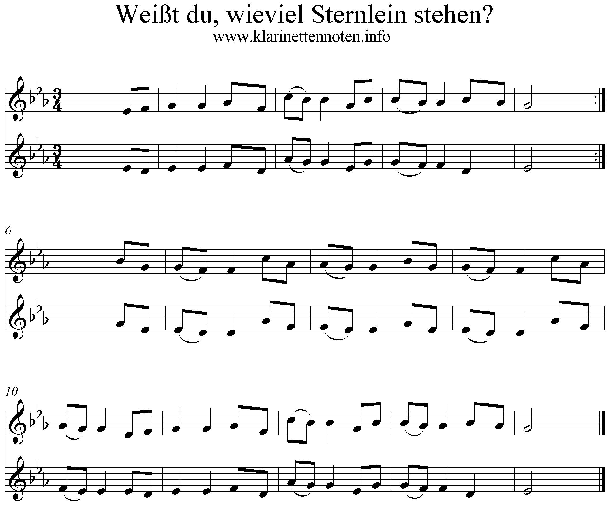 Weisst Du Wieviel Sternlein - Eb für Liedtext Weißt Du Wieviel Sternlein Stehen