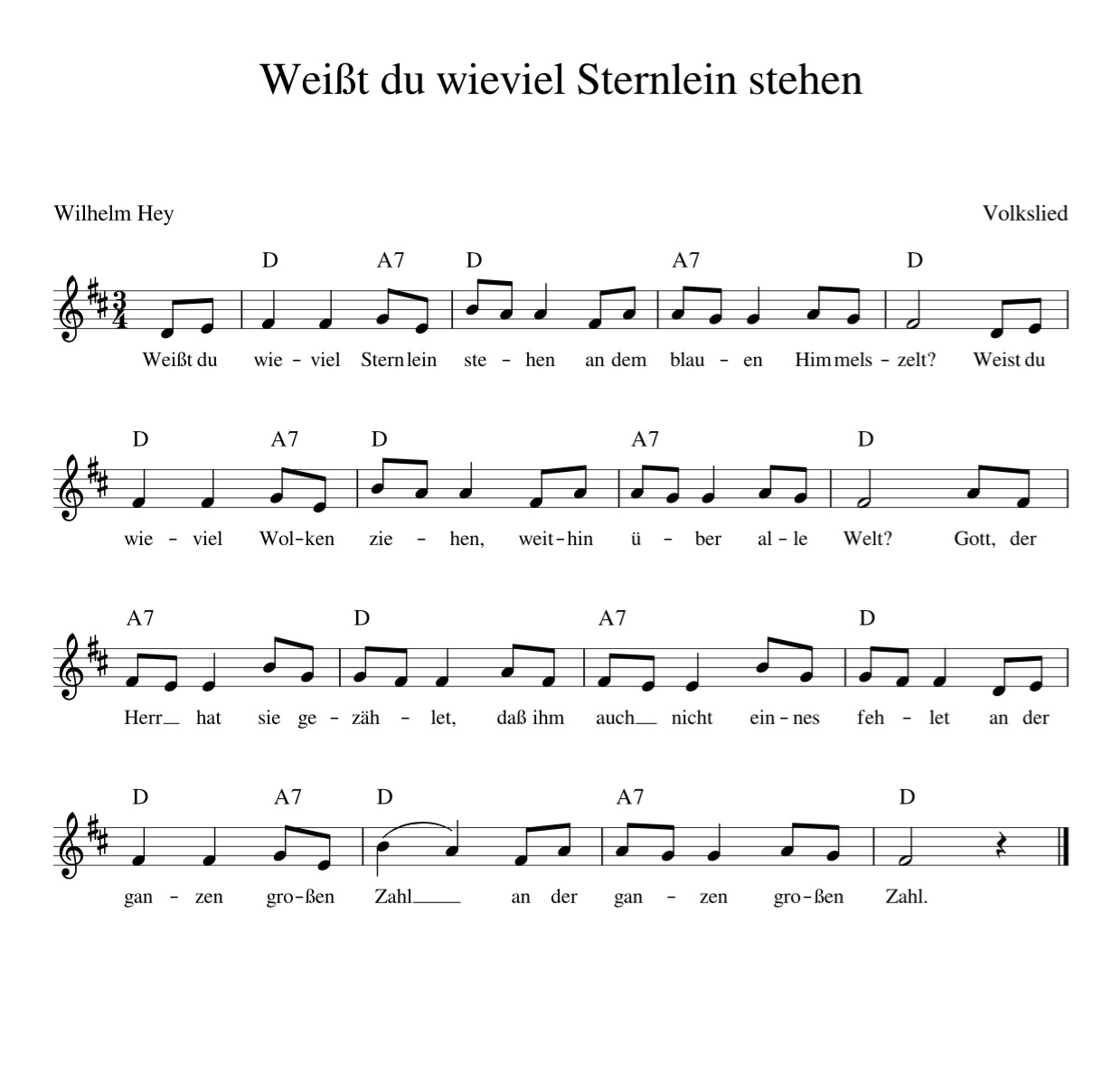 Weißt Du Wieviel Sternlein Stehen - Kinderlieder - Noten bestimmt für Liedtext Weißt Du Wieviel Sternlein Stehen