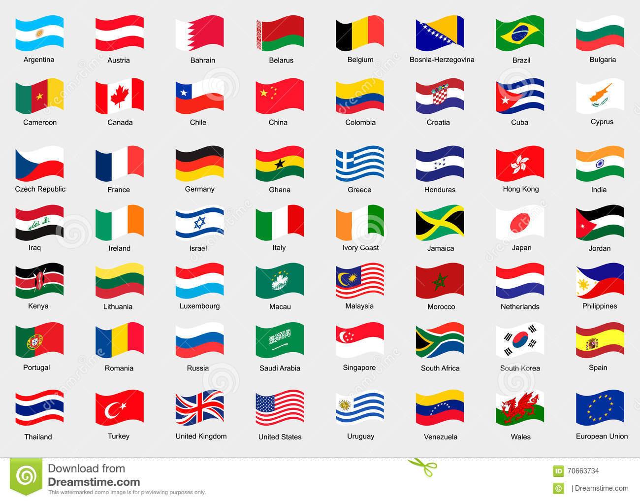 Wellenartig Bewegende Flaggen Der Welt Stock Abbildung innen Flaggen Der Welt Download