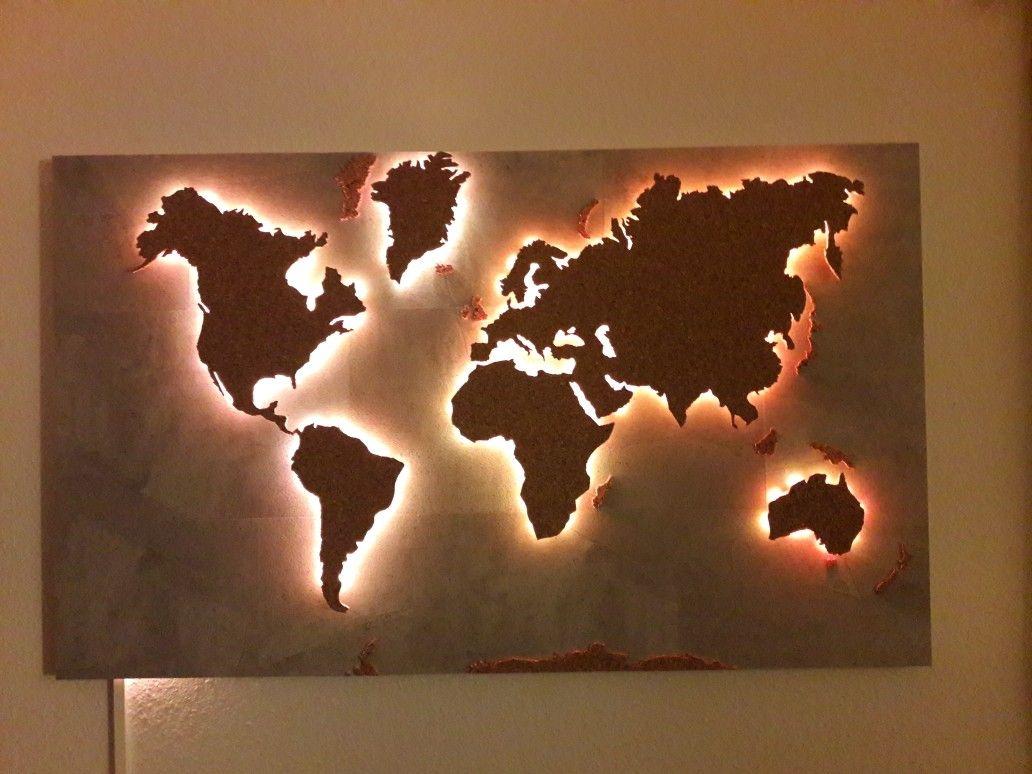Weltkarte Beleuchtet Diy | Weltkarte Wand, Weltkarte verwandt mit Weltkarte Selber Machen