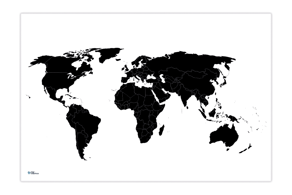 Weltkarte Einfarbig | Meine-Weltkarte bestimmt für Weltkarte Blanko