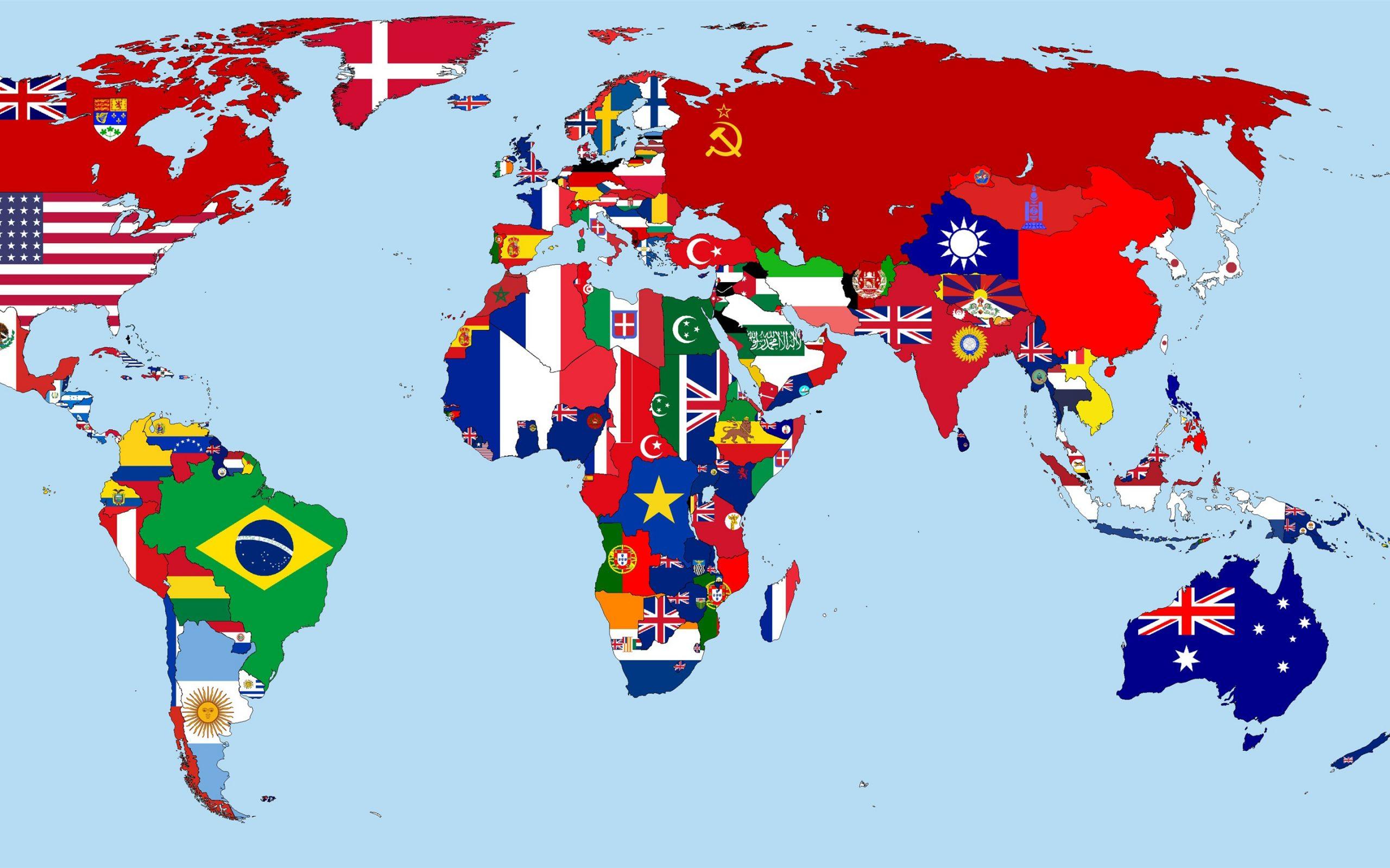 Weltkarte Im Jahre 1930, Flaggen, Länder 3840X2160 Uhd 4K für Weltkarte Mit Flaggen