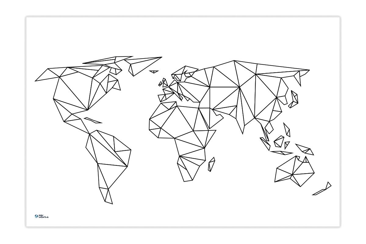 Weltkarte Kantig Designen   Meine-Weltkarte innen Bilder Aus Strichen