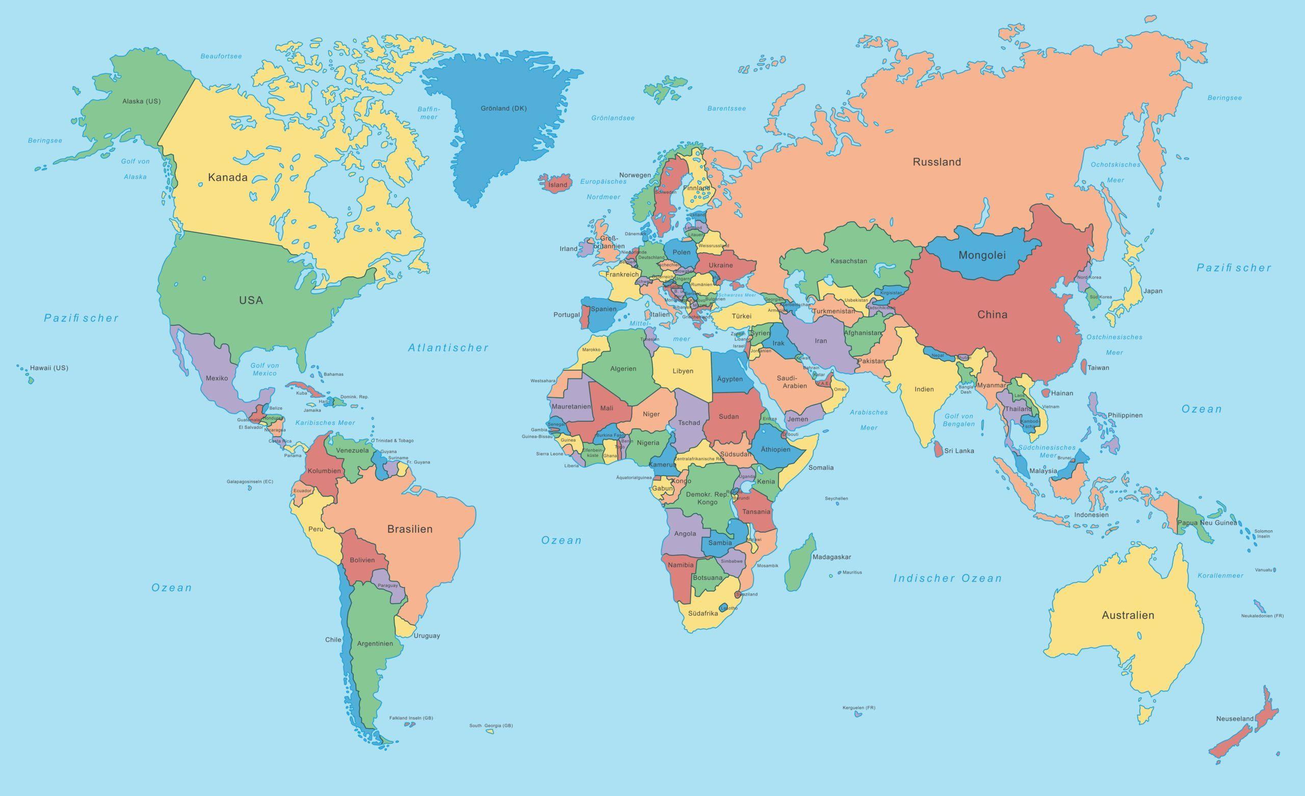 Weltkarte | Landkarte Aller Staaten Der Welt - Politische Karte über Länder Der Welt Karte