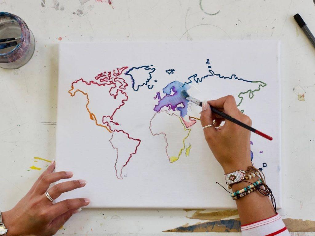 Weltkarte Malen: Schritt Für Schritt Zum Kunstwerk – Artnight innen Weltkarte Selber Machen