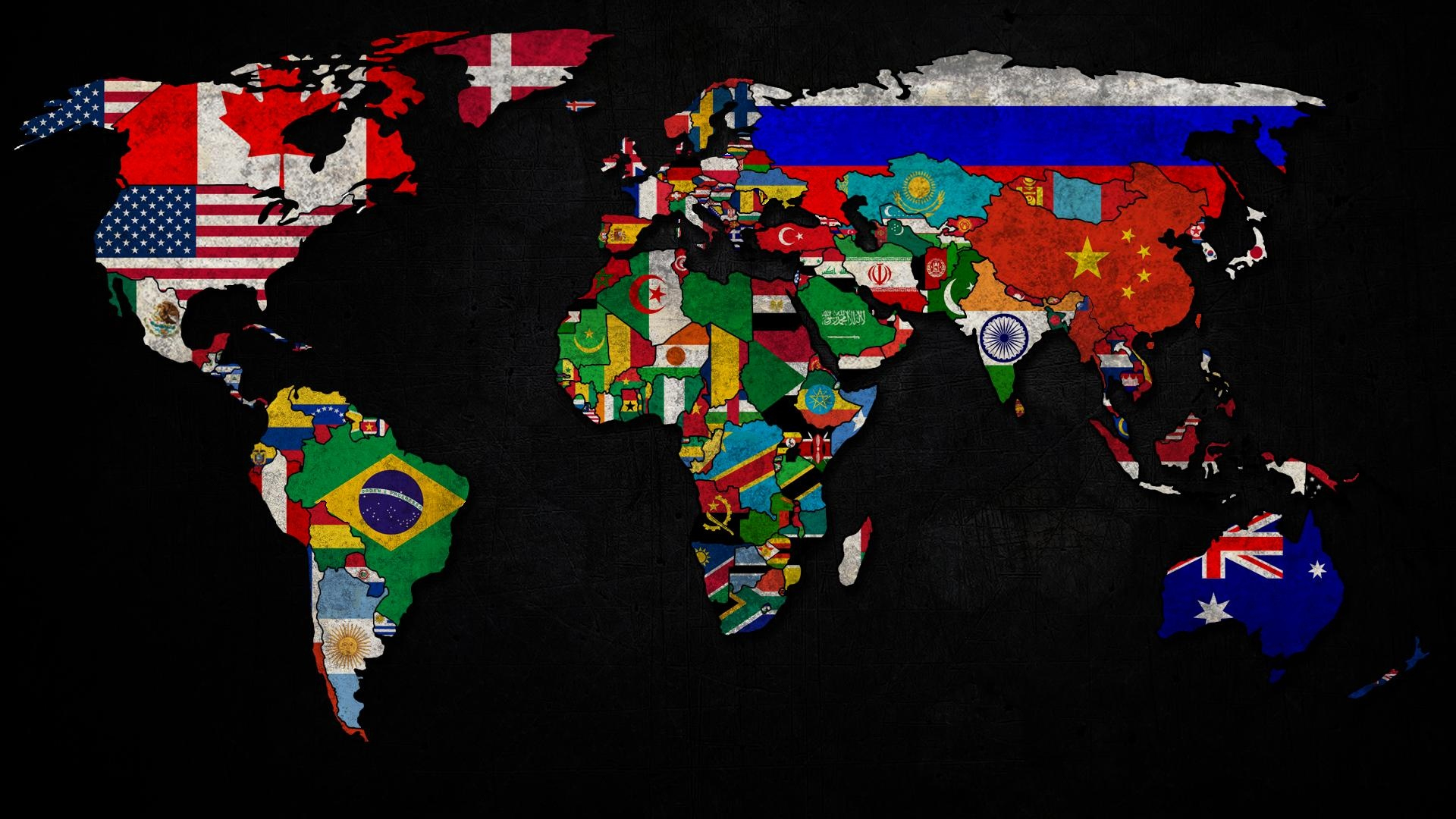 Weltkarte Mit Flaggen-Logo 1920X1080 Full Hd 2K für Weltkarte Mit Flaggen