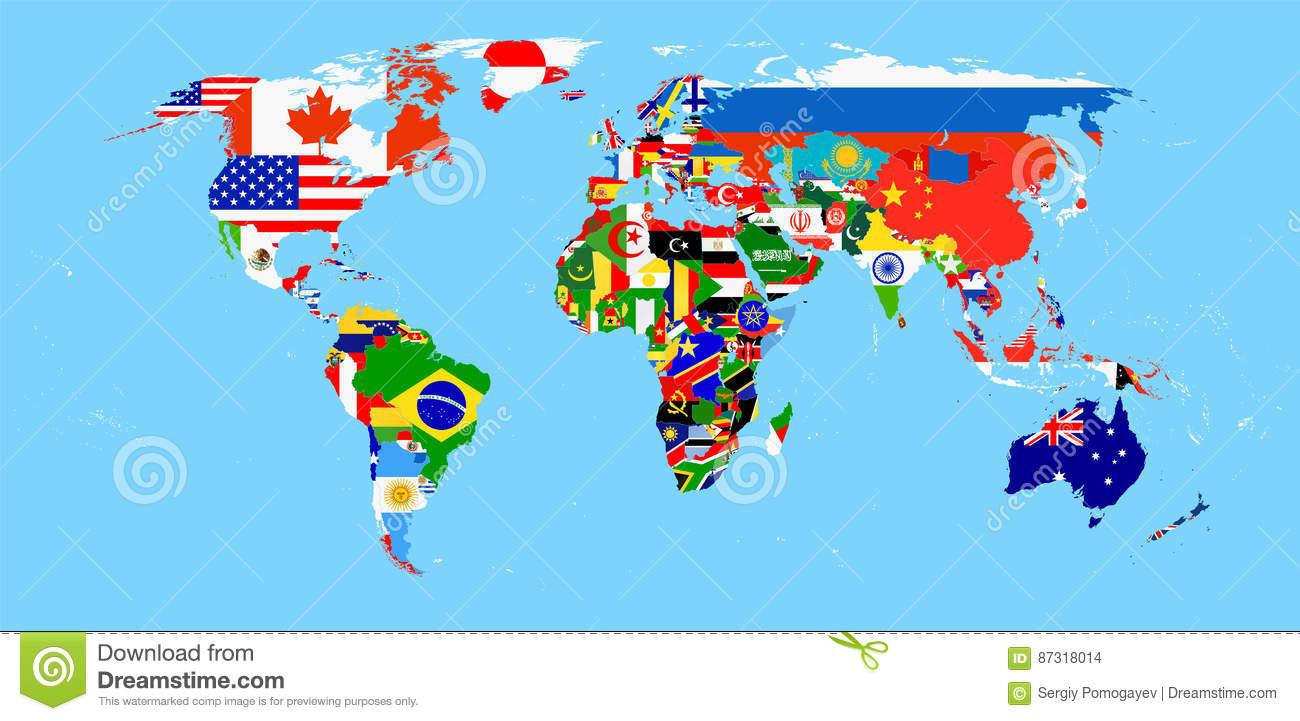 Weltkarte Mit Flaggen Vektor Abbildung. Illustration Von bestimmt für Weltkarte Mit Flaggen
