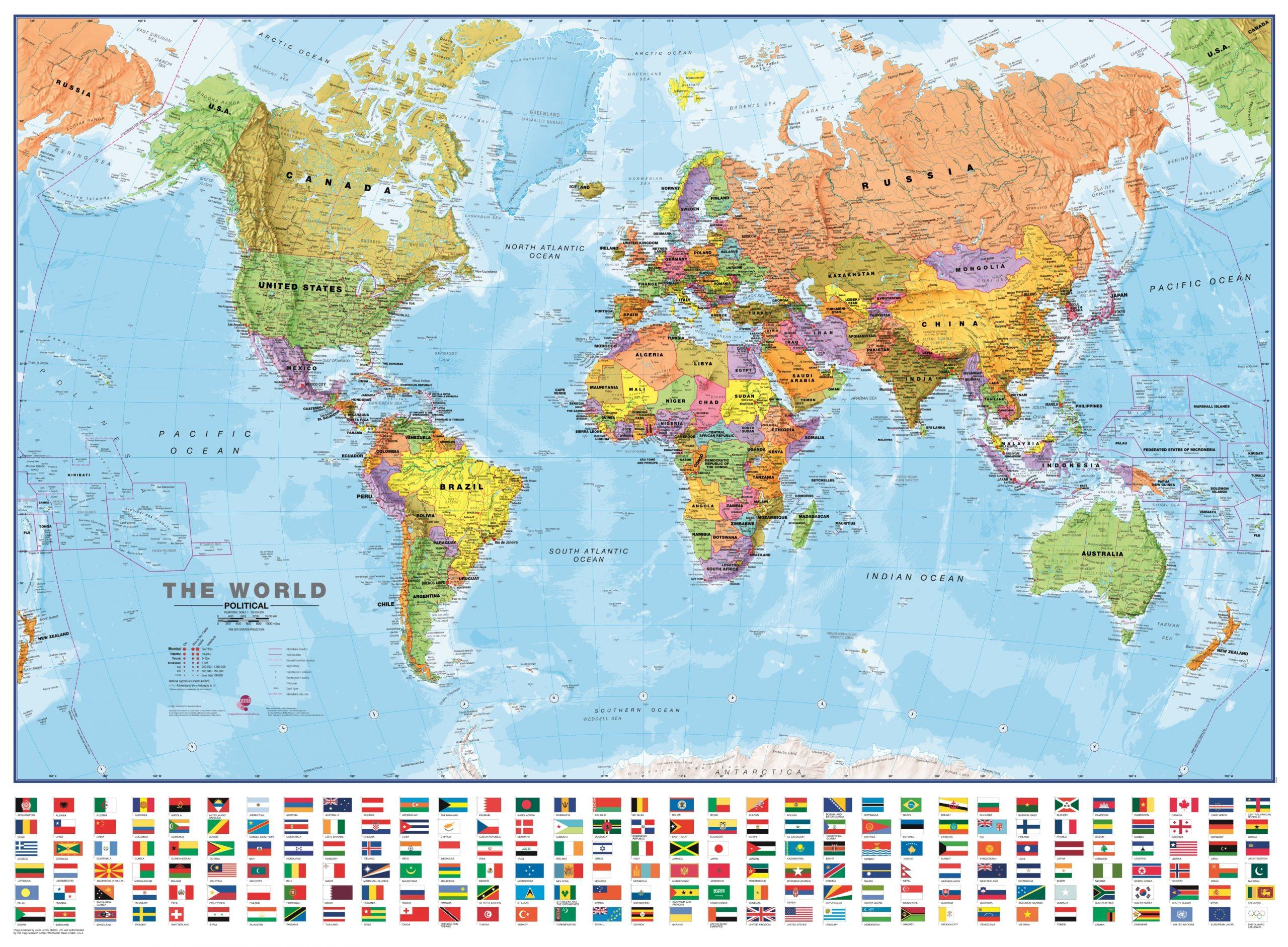 Weltkarte Politisch Mit Flaggen 135 X 100Cm 1:30 Mio bei Weltkarte Mit Flaggen