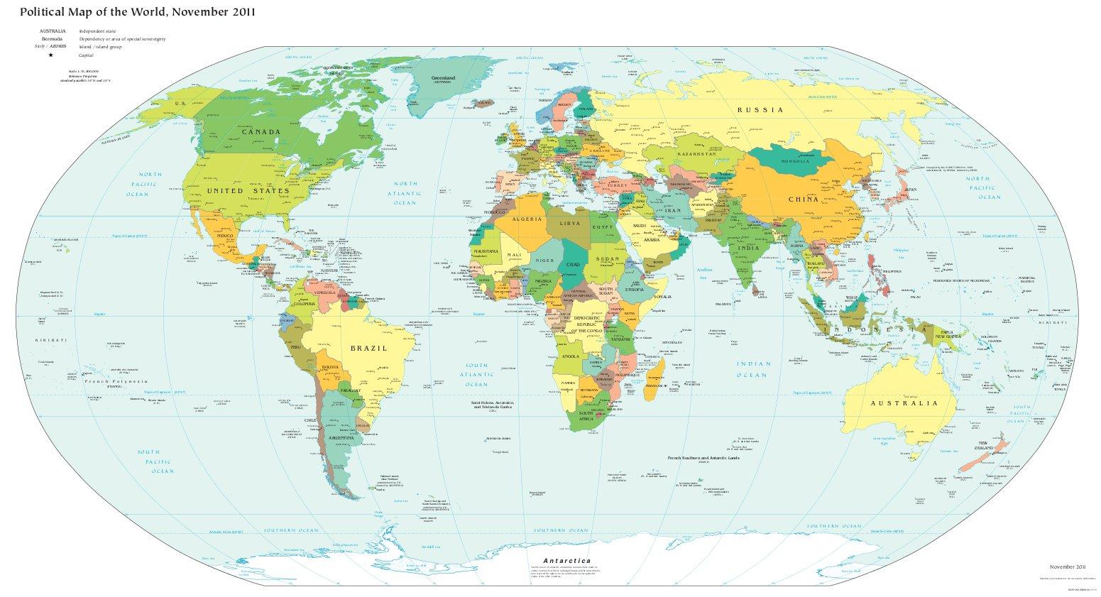 Weltkarte (Politische Karte: Farbig, Pdf) : Weltkarte verwandt mit Weltkarte Din A3