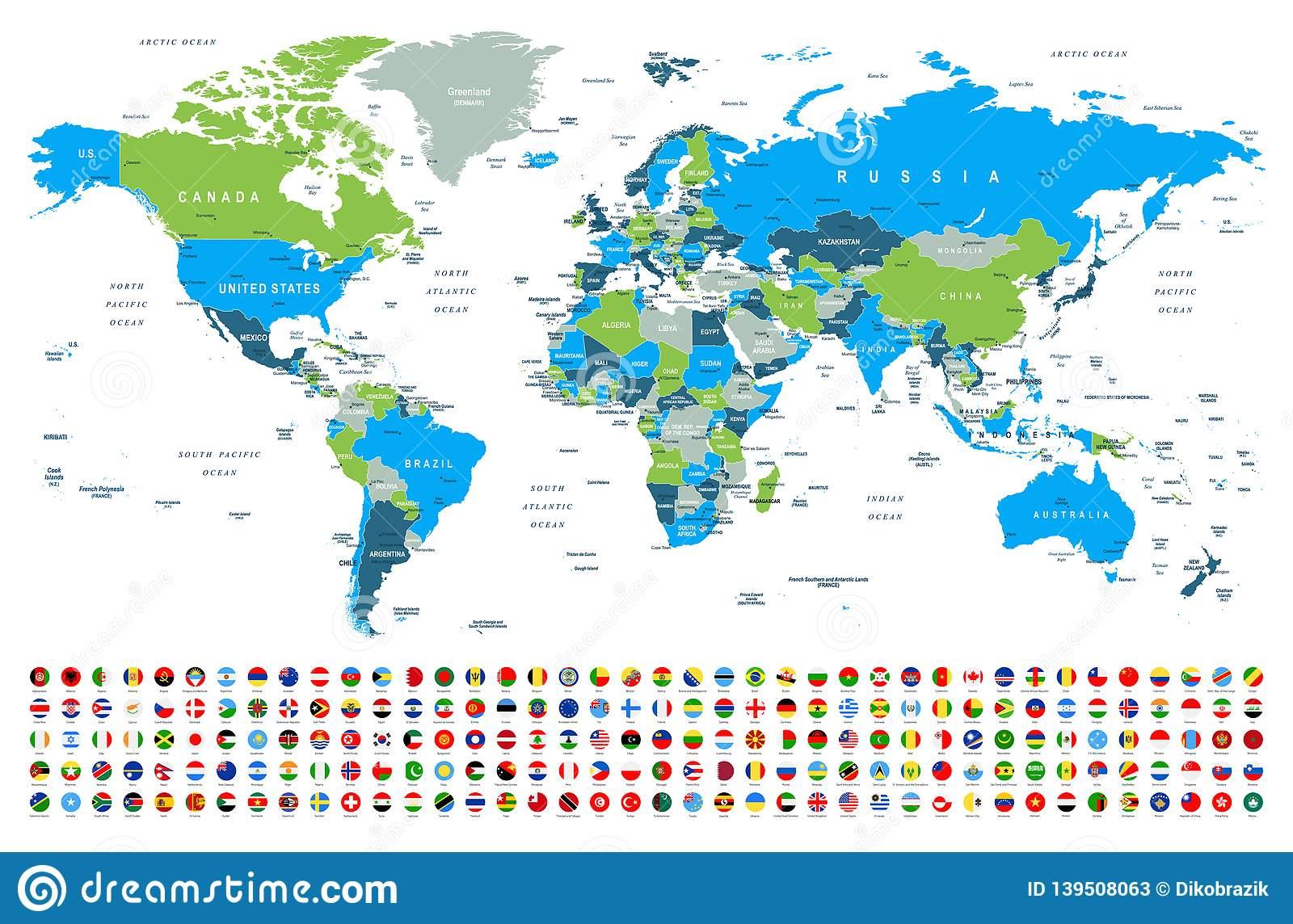Weltkarte Und Flaggen - Grenzen, Länder Und Städte innen Weltkarte Mit Flaggen