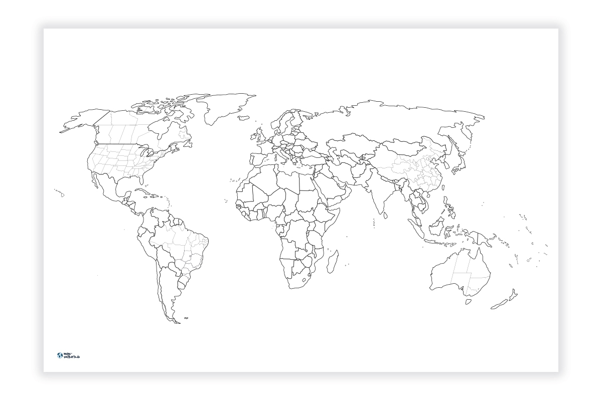 Weltkarte Zum Ausmalen/pinnen | Meine-Weltkarte in Weltkarte Ausmalen