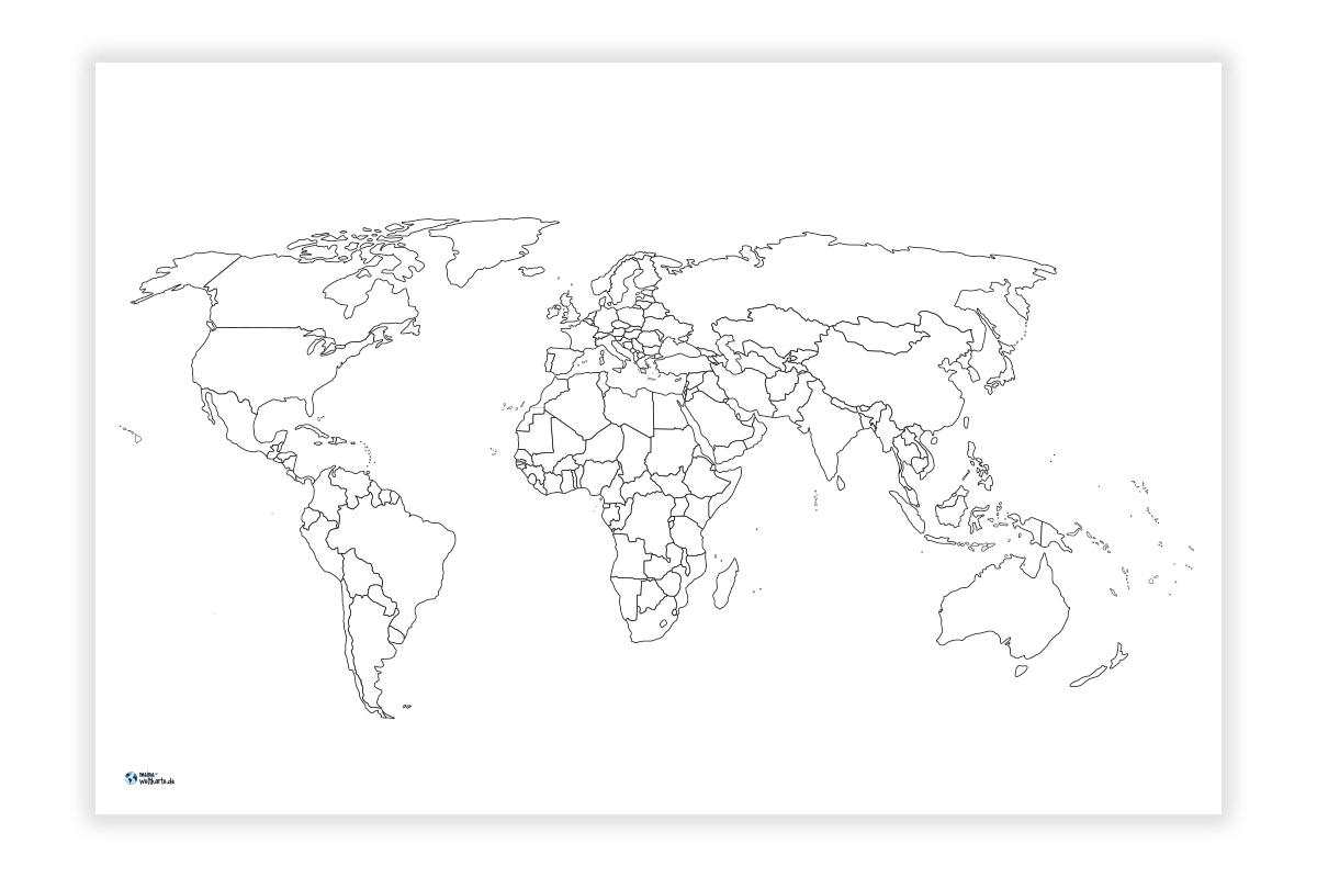 Weltkarte Zum Ausmalen/pinnen | Meine-Weltkarte verwandt mit Weltkarte Blanko