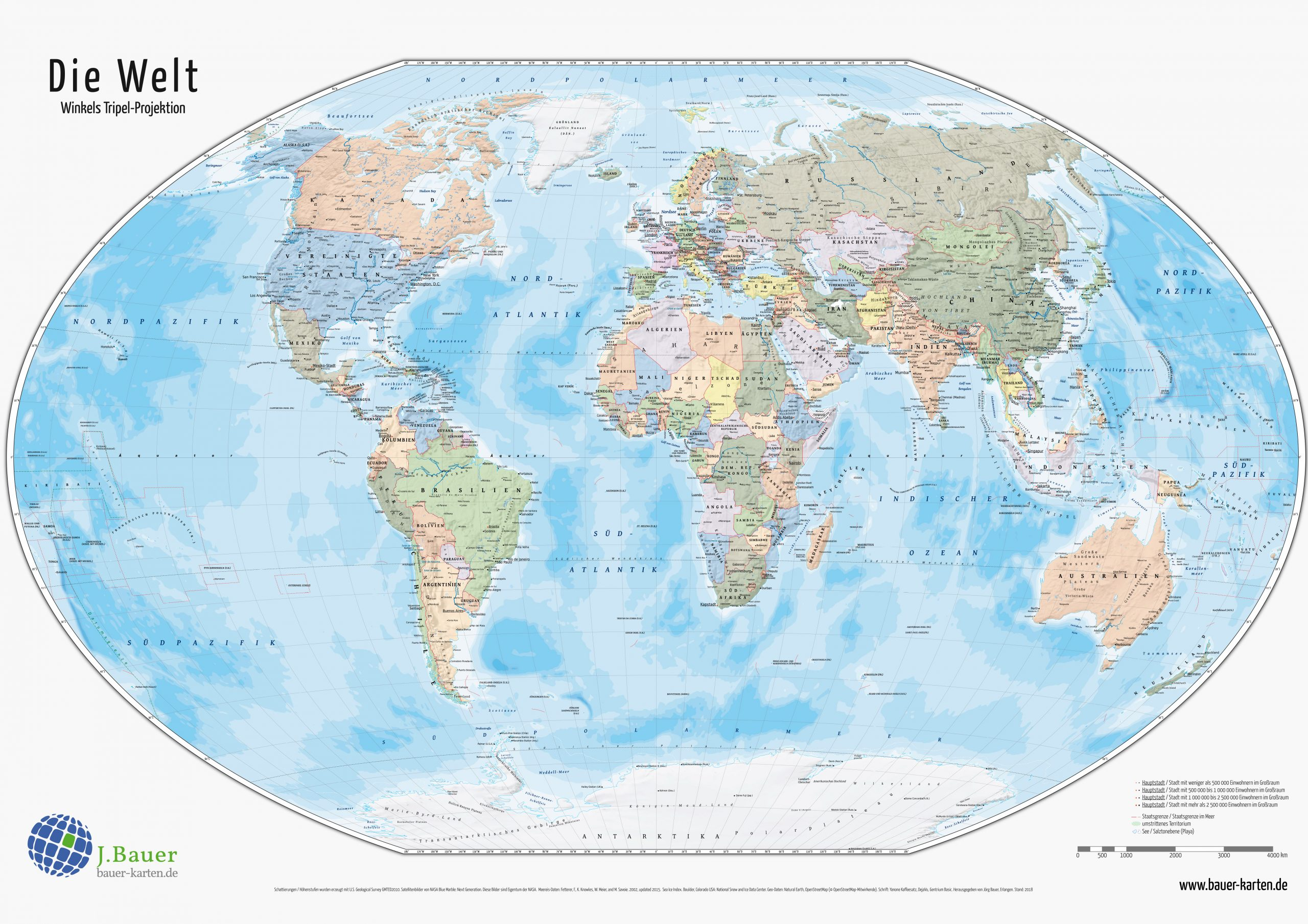 Weltkarte Din A4