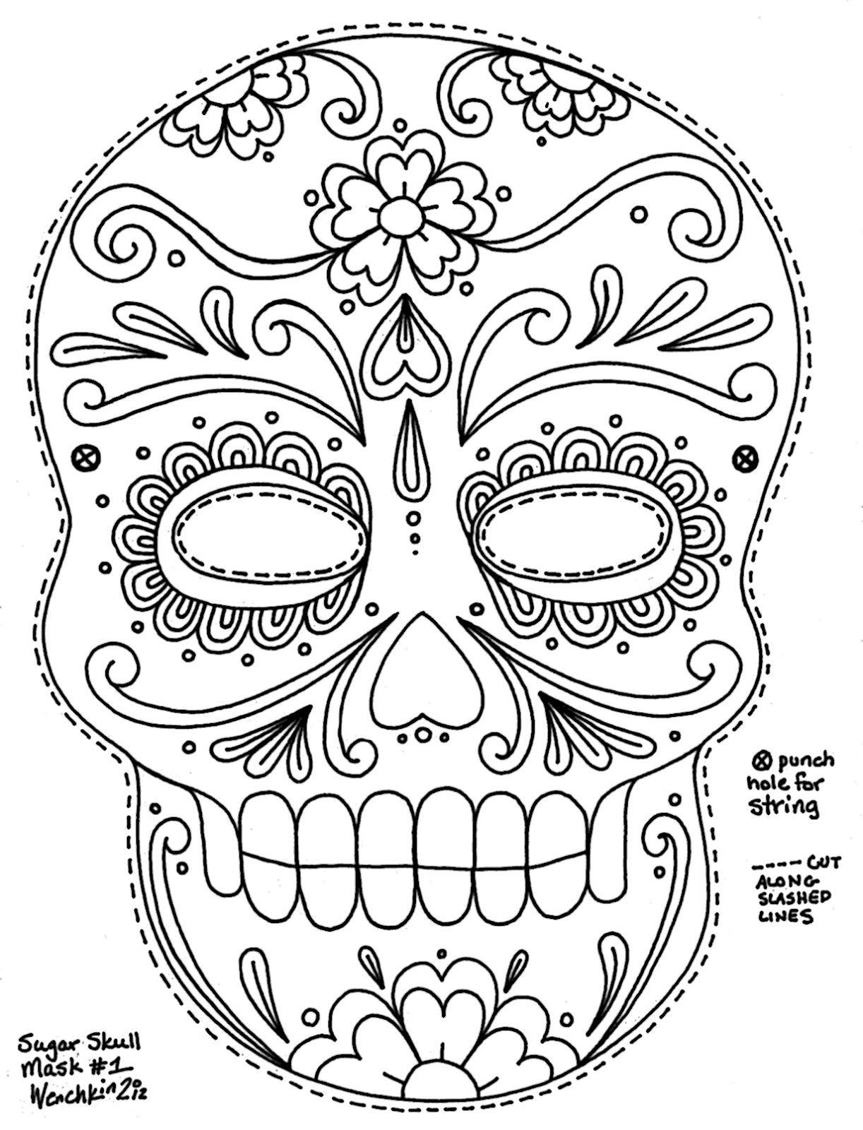 Wenchkin's Coloring Pages - Sugar Skull Mask | Malvorlagen ganzes Masken Zum Ausdrucken