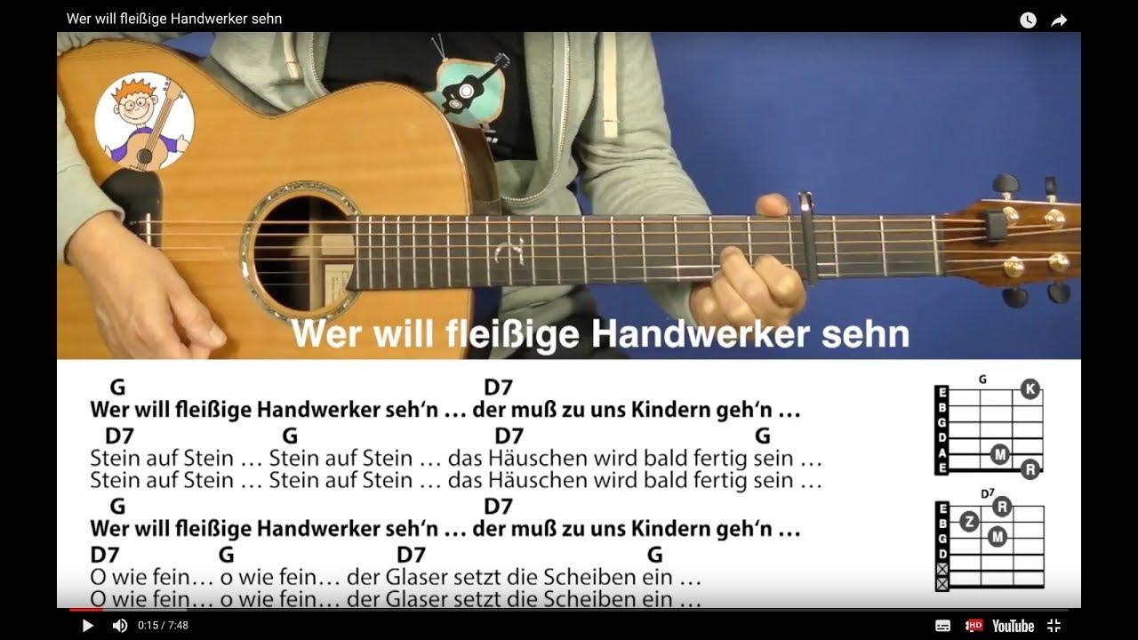 Wer Will Fleißige Handwerker Sehn, Bewegungslied Mit 2 Akkorden U. Text Für  Gitarre bestimmt für Wer Will Fleißige Handwerker Sehn Text