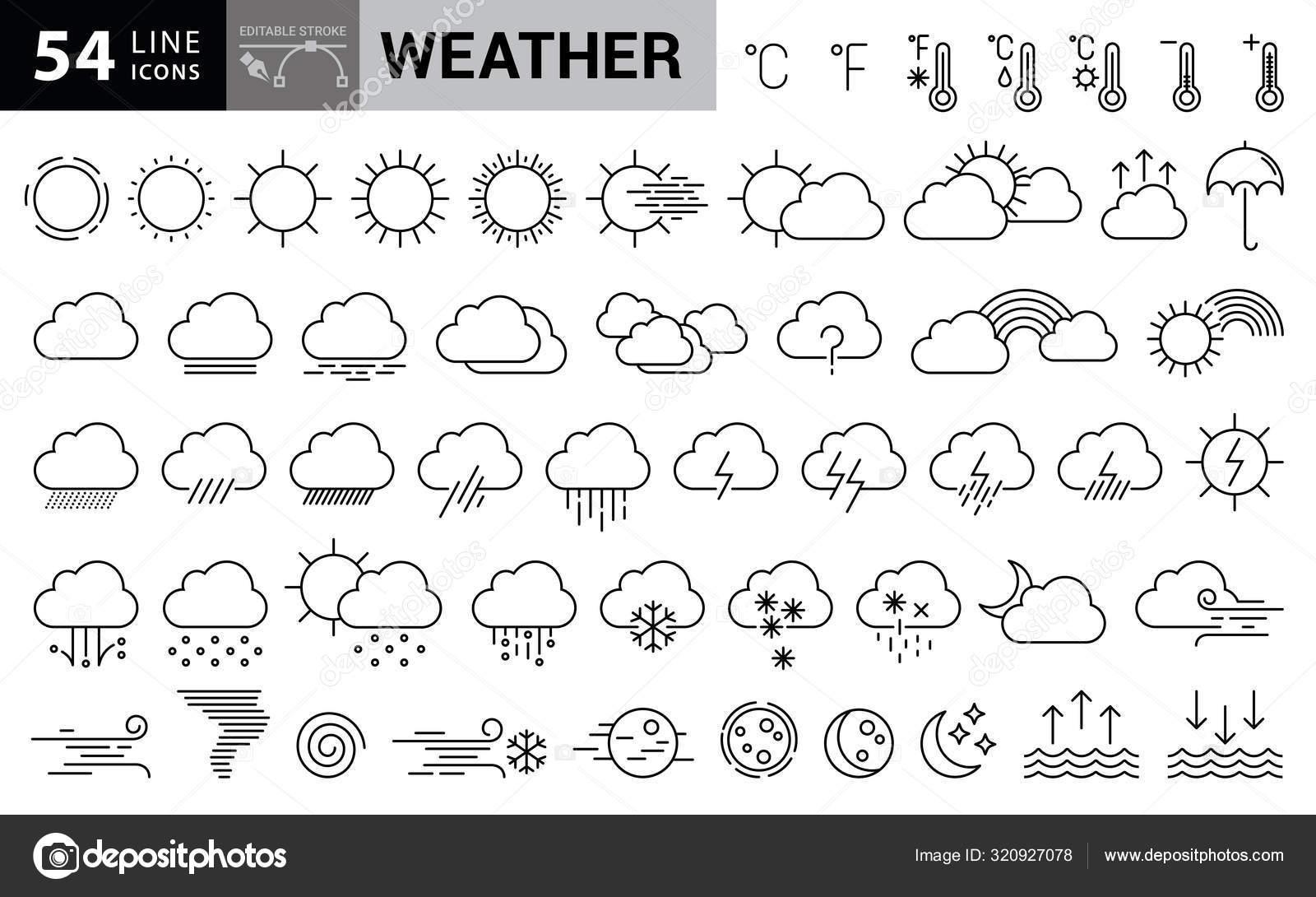 Wetter-Symbole Mit Editierbaren Strichen — Stockvektor mit Bilder Aus Strichen