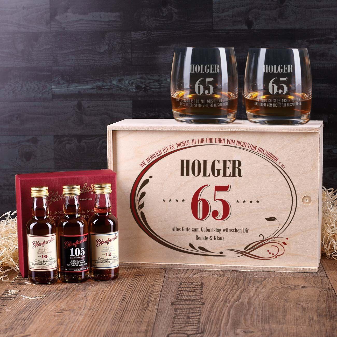 Whisky-Set Zum 65. Geburtstag In Personalisierter Holzbox verwandt mit Geschenke Zum 65 Geburtstag Für Männer