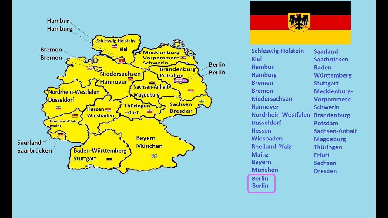 Wie Heißen Die Deutsche 16 Bundesländer Und Ihre Hauptstädte. über Bundesländer Deutschland Mit Hauptstädten Lernen