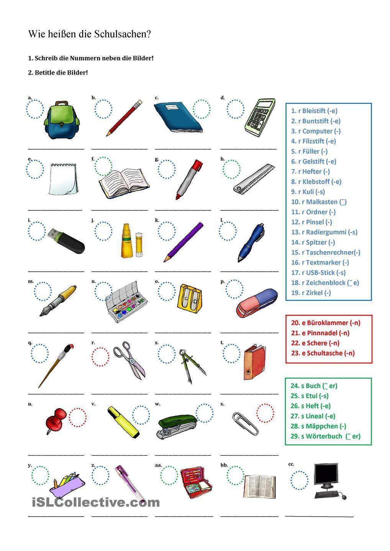 Wie Heißen Die Schulsachen? | Schulsachen, Schule, Deutsch mit Deutsche Worte Mit Y