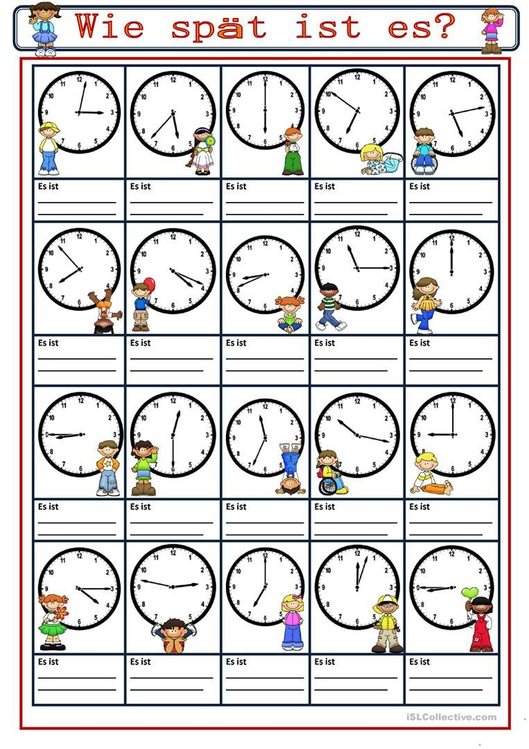 Wie Spät Ist Es (Mit Bildern)   Uhrzeit Lernen, Uhrzeiten bei Uhrzeit Lernen Arbeitsblätter Kostenlos