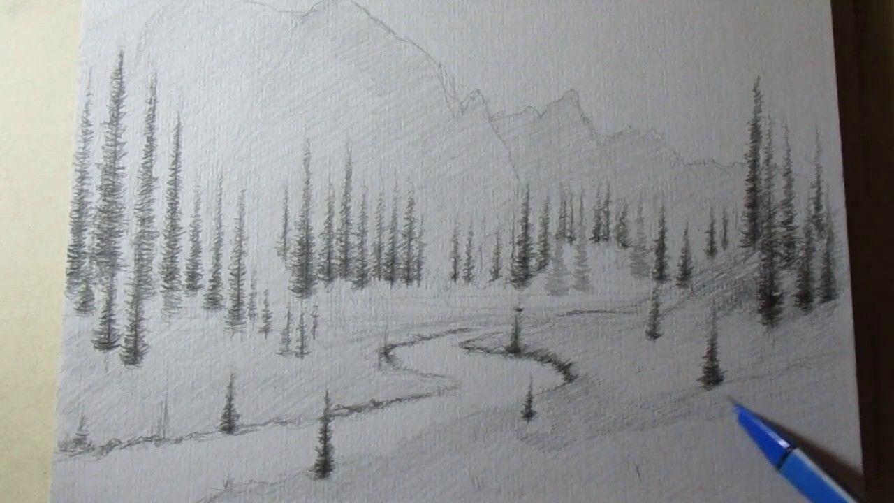 Wie Zeichnen Sie Eine Landschaft Mit Bleistift Schritt Für bestimmt für Einfache Landschaften Zeichnen