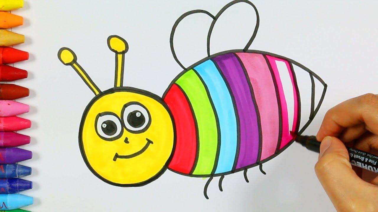 Wie Zeichnet Bunte Biene 🌾 | Wie Man Bunte Biene Zieht | Zeichnen Und  Ausmalen Für Kinder für Biene Zum Ausmalen