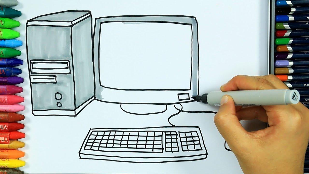 Wie Zeichnet Man Computer🖥 | Ausmalen Kinder Hd | Malen Für Kinder |  Zeichnen Und Färben innen Bilder Am Computer Ausmalen