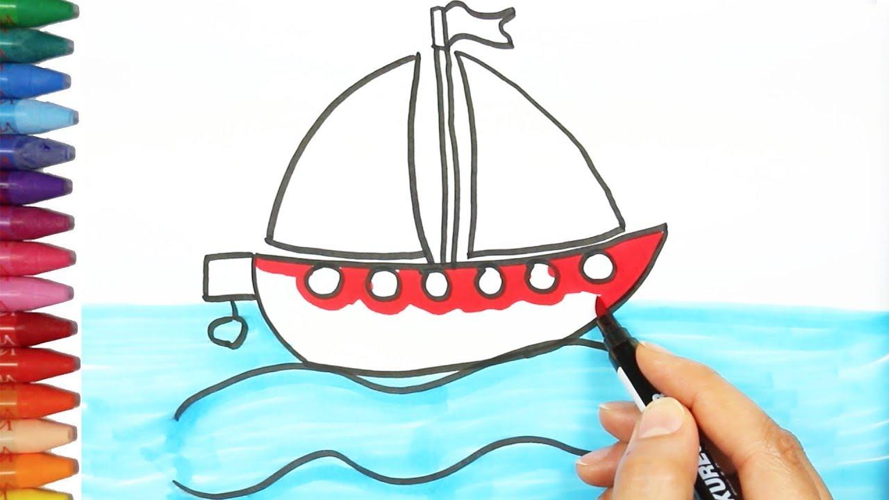 Wie Zeichnet Man Ein Boot - Zeichnen Und Ausmalen Für Kinder in Wie Zeichnet Man Ein Schiff