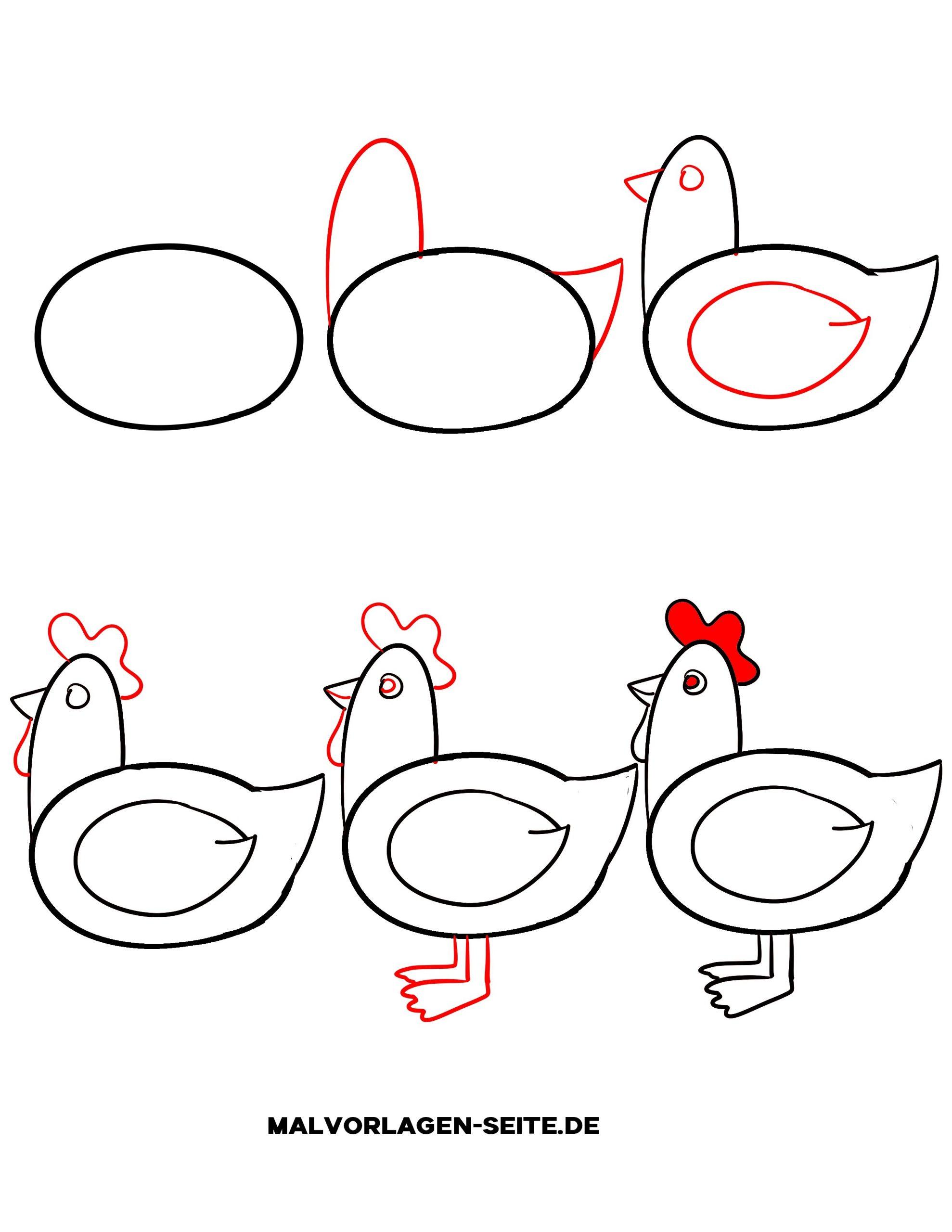 Wie Zeichnet Man Ein Huhn - Ausmalbilder Kostenlos Herunterladen für Kinder Lernen Zeichnen Und Malen