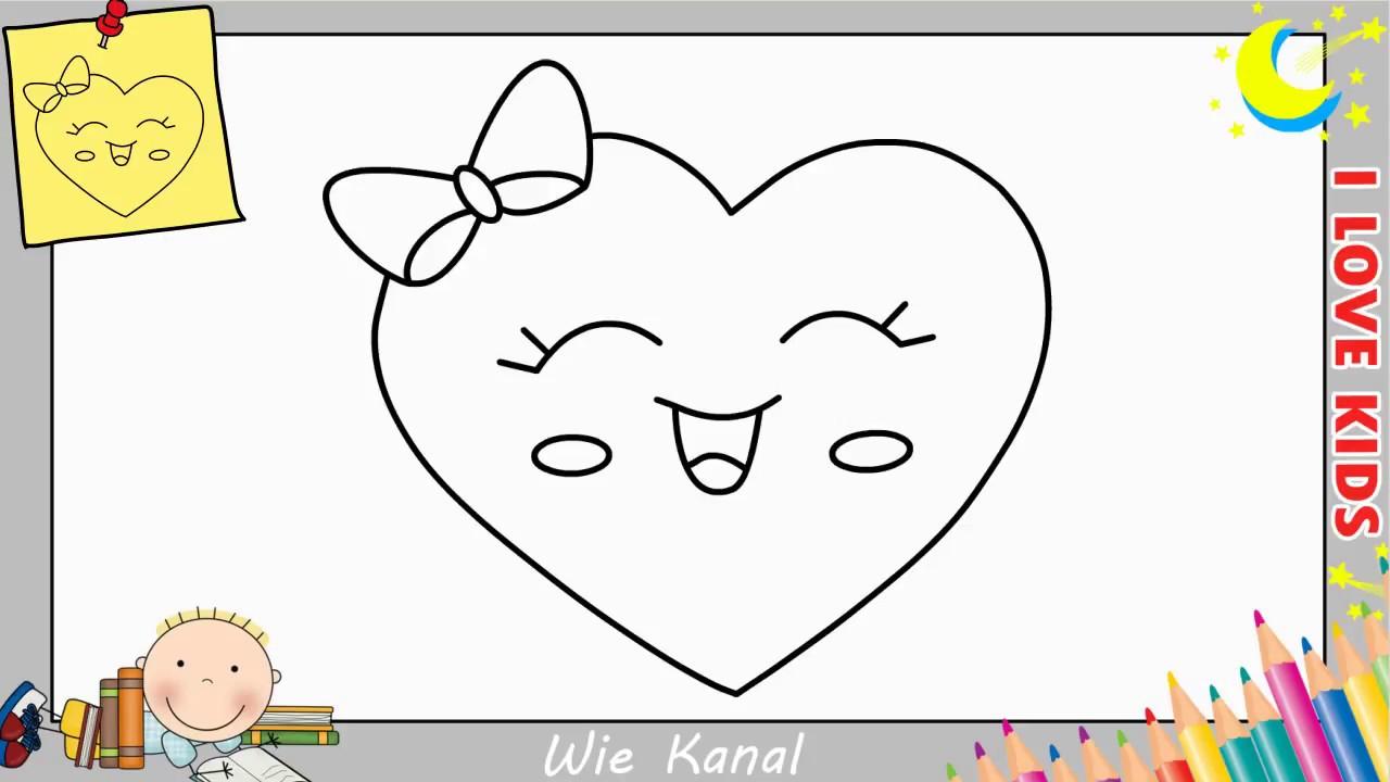Wie Zeichnet Man Eine Herz Emoji Kawaii Einfach Für Kinder - Zeichnen  Lernen 6 innen Kinder Zeichnen Lernen