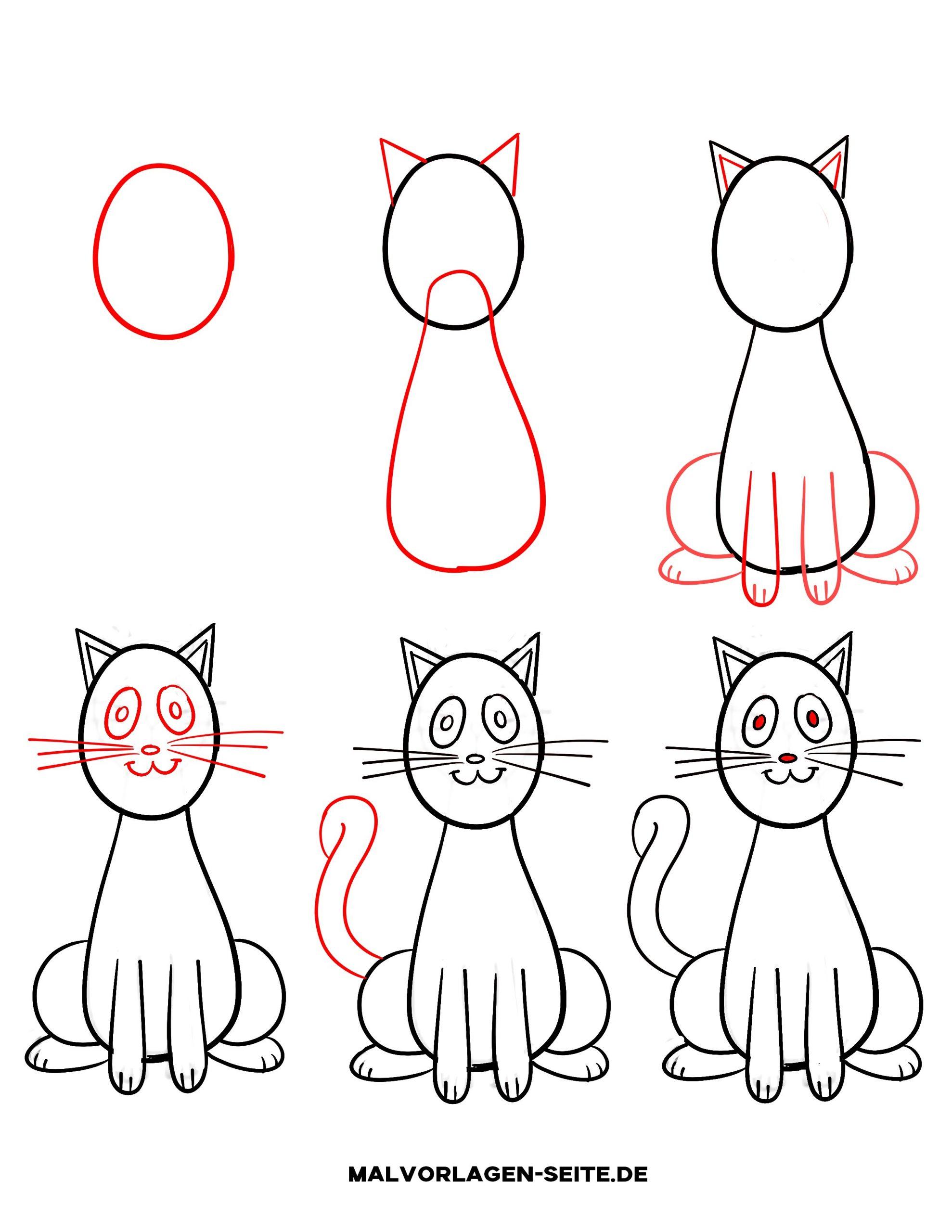 Wie Zeichnet Man Eine Katze - Ausmalbilder Kostenlos verwandt mit Katze Zeichnen Lernen