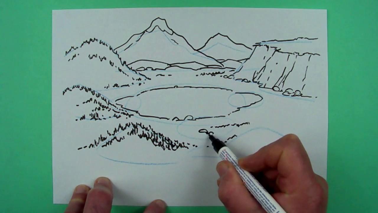 Wie Zeichnet Man Eine Landschaft ? Zeichnen Für Kinder für Einfache Landschaften Zeichnen