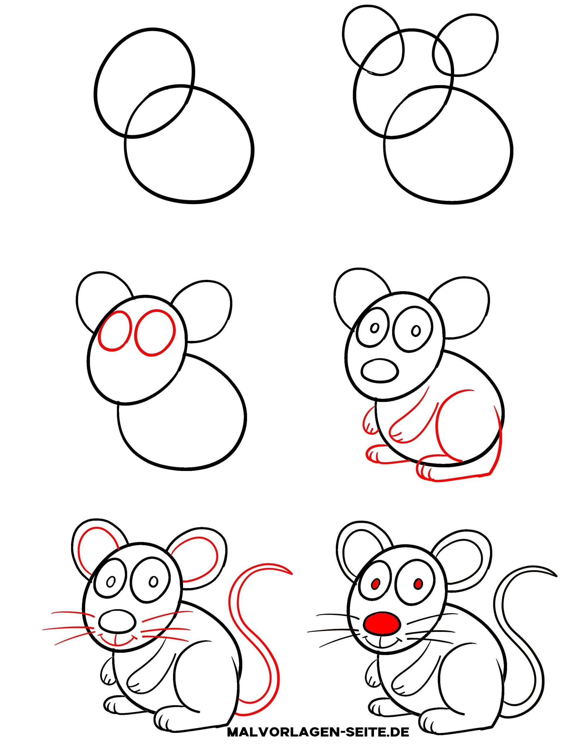 Wie Zeichnet Man Eine Maus - Ausmalbilder Kostenlos für Kinder Zeichnen Lernen