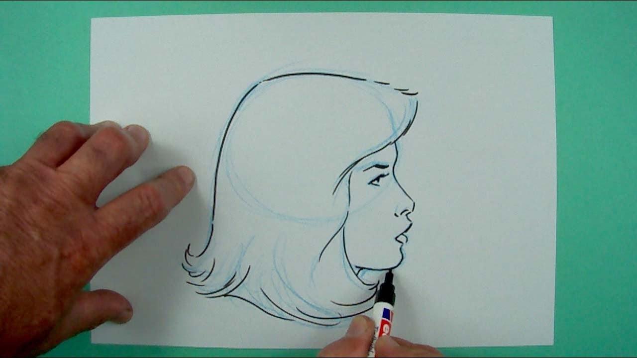 Wie Zeichnet Man Einen Frauenkopf Von Der Seite? Zeichnen Für Kinder mit Gesicht Von Der Seite Zeichnen